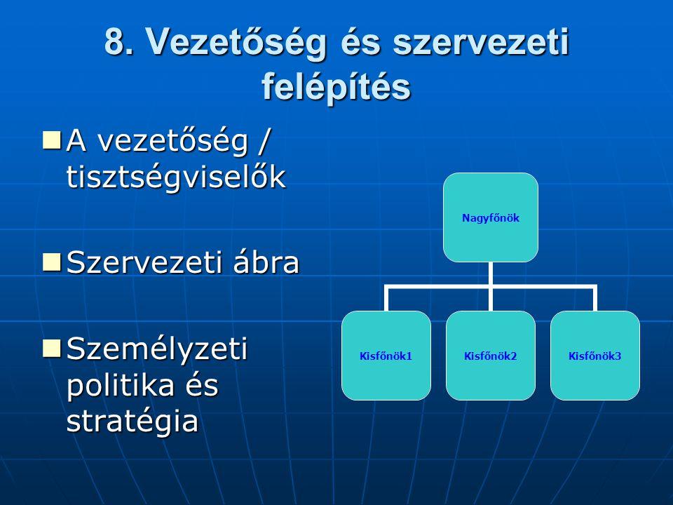 8. Vezetőség és szervezeti felépítés