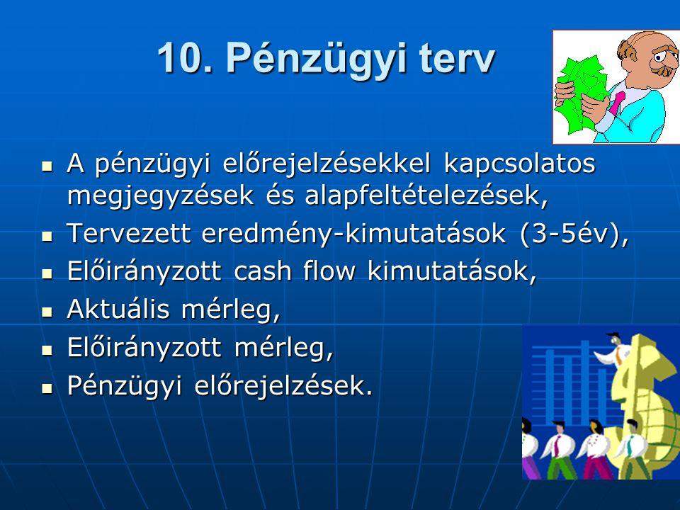 10. Pénzügyi terv A pénzügyi előrejelzésekkel kapcsolatos megjegyzések és alapfeltételezések, Tervezett eredmény-kimutatások (3-5év),