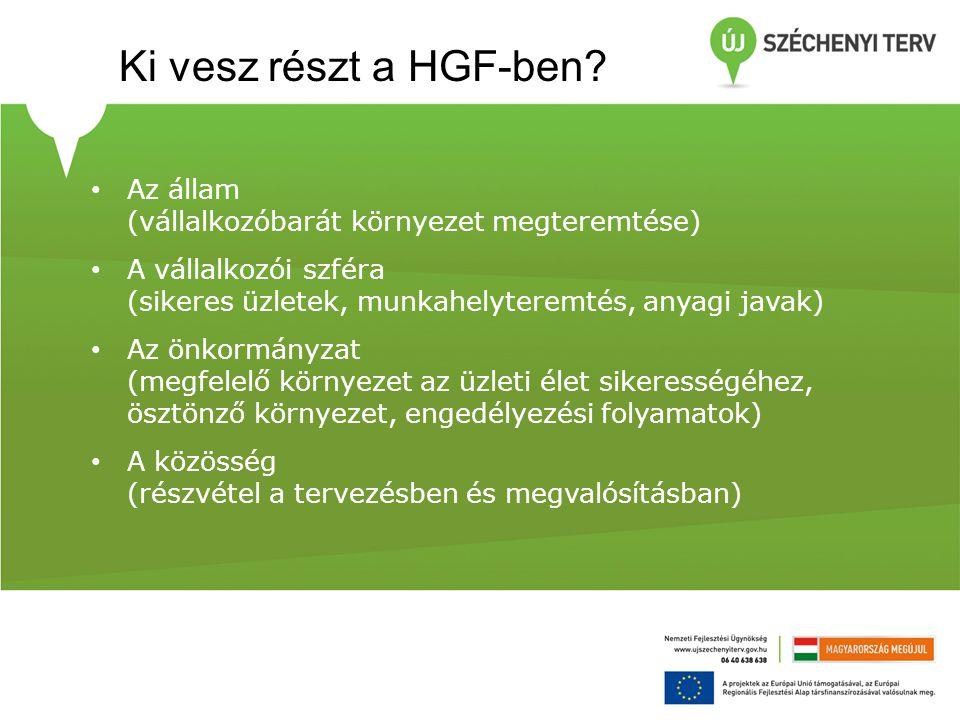 Ki vesz részt a HGF-ben Az állam (vállalkozóbarát környezet megteremtése)