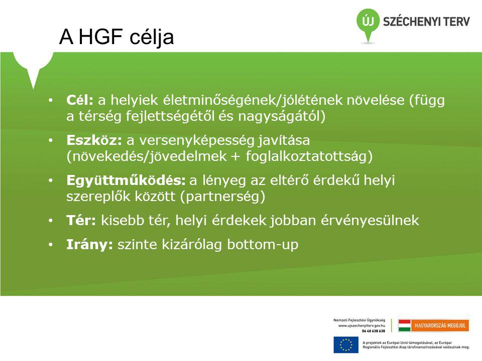 A HGF célja Cél: a helyiek életminőségének/jólétének növelése (függ a térség fejlettségétől és nagyságától)