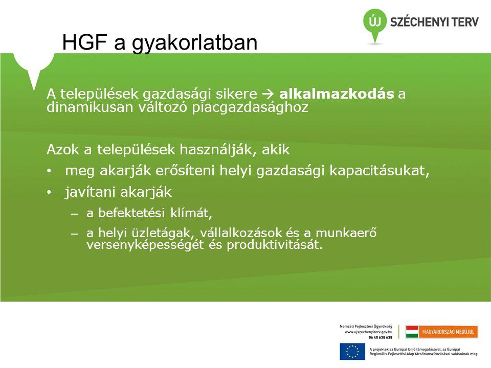 HGF a gyakorlatban A települések gazdasági sikere  alkalmazkodás a dinamikusan változó piacgazdasághoz.
