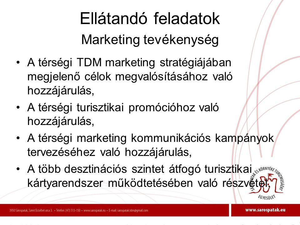 Ellátandó feladatok Marketing tevékenység