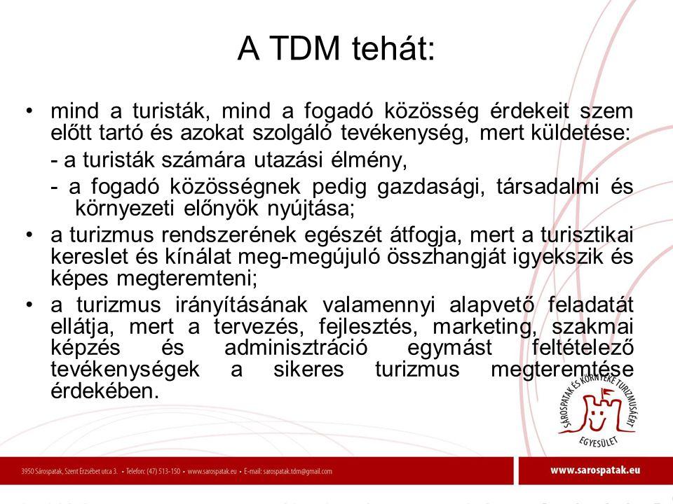 A TDM tehát: mind a turisták, mind a fogadó közösség érdekeit szem előtt tartó és azokat szolgáló tevékenység, mert küldetése: