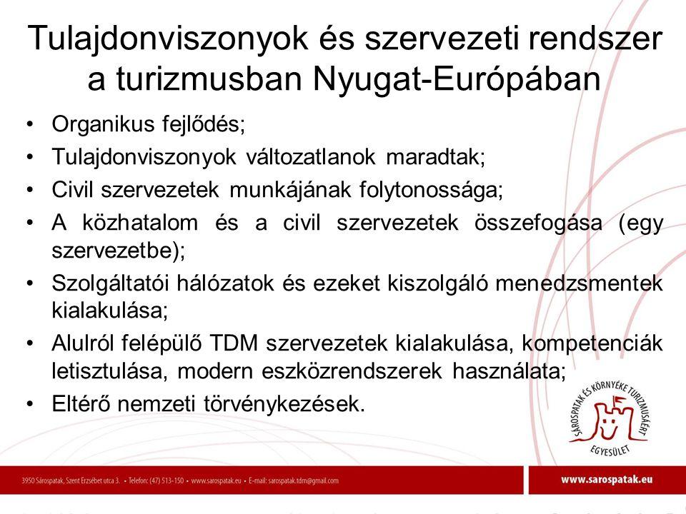 Tulajdonviszonyok és szervezeti rendszer a turizmusban Nyugat-Európában