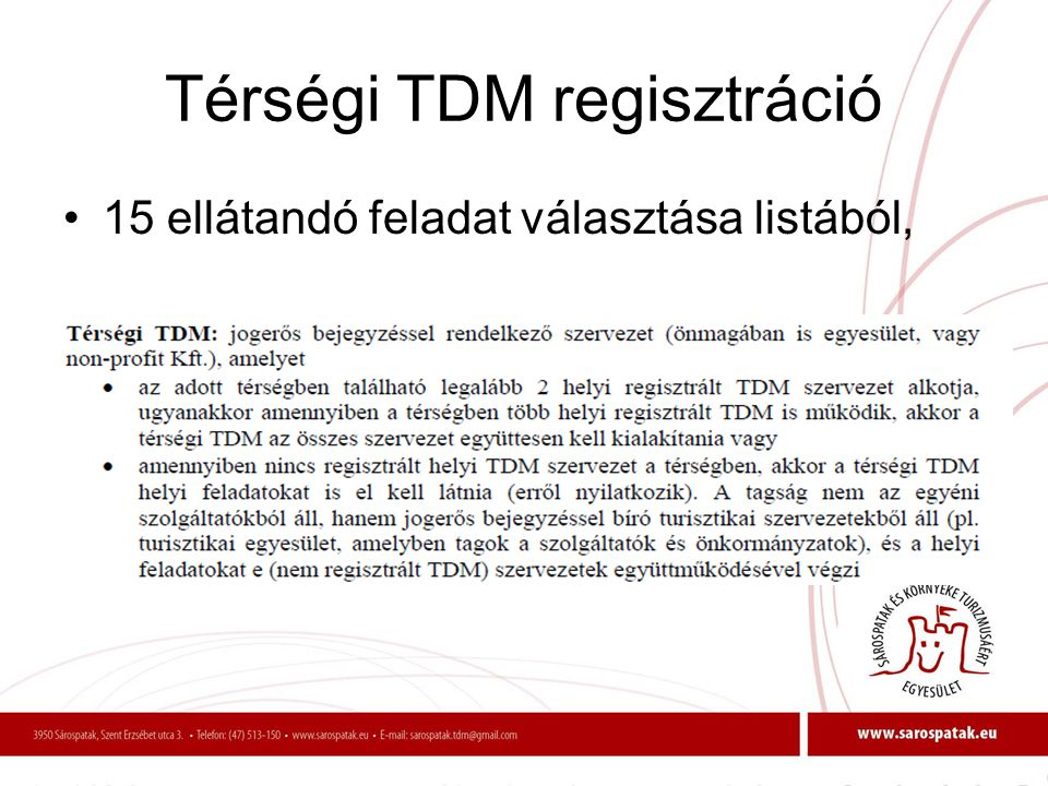 Térségi TDM regisztráció