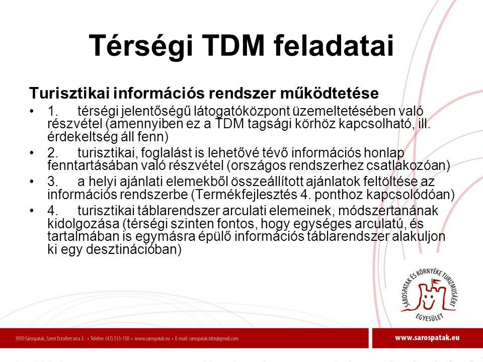 Térségi TDM feladatai Turisztikai információs rendszer működtetése