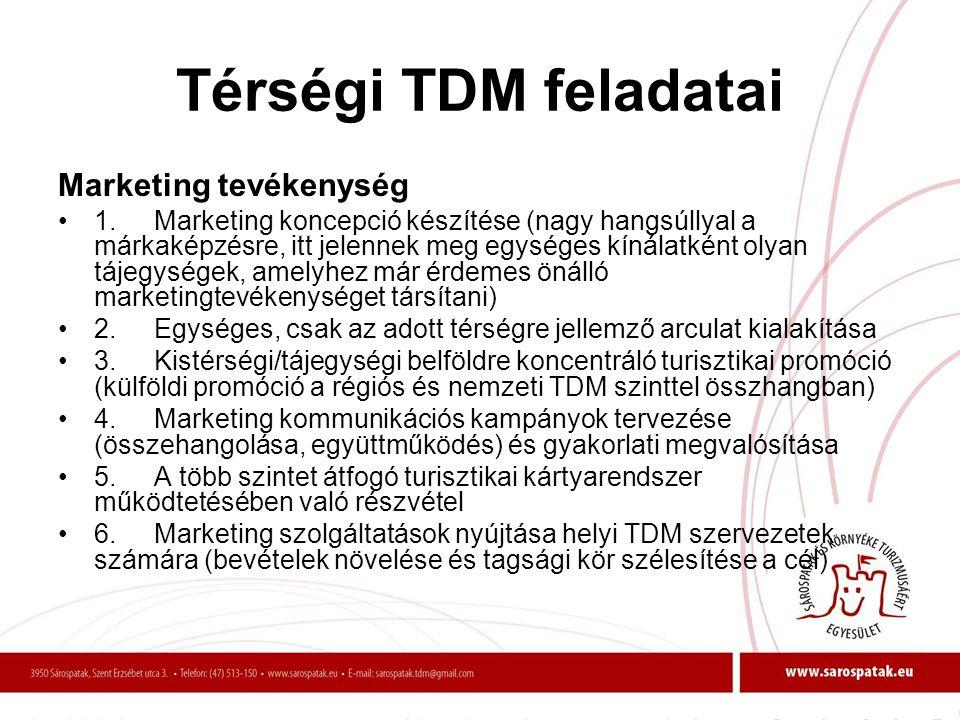 Térségi TDM feladatai Marketing tevékenység