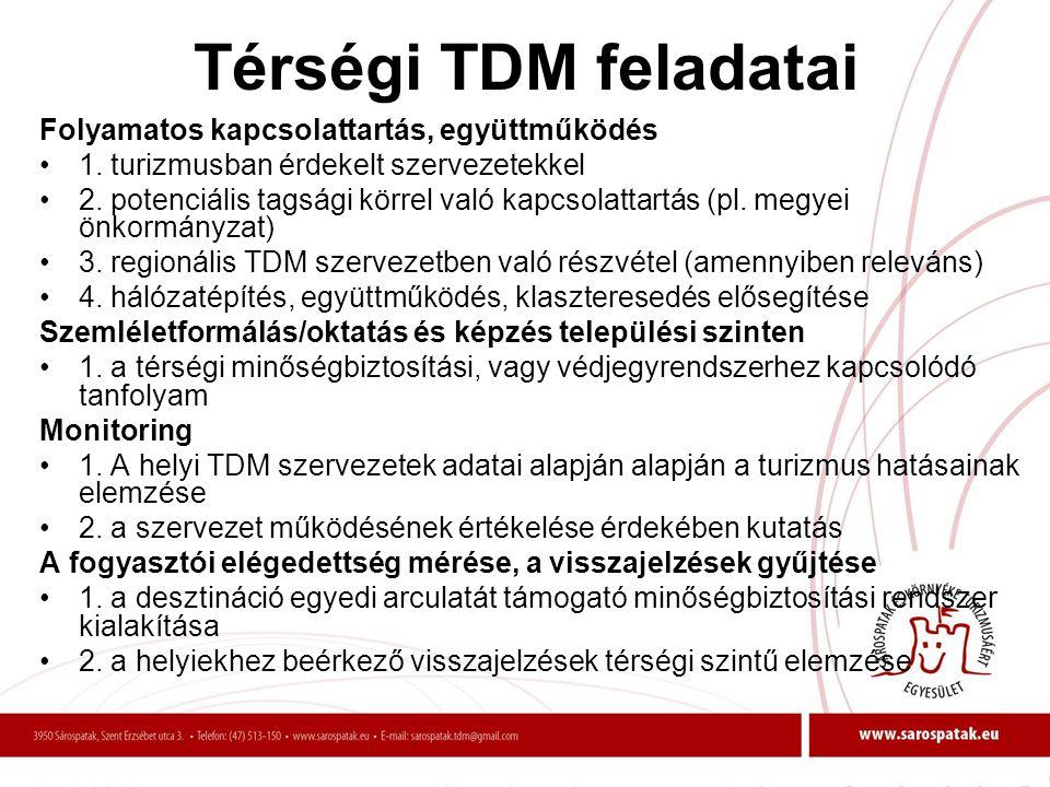 Térségi TDM feladatai Folyamatos kapcsolattartás, együttműködés