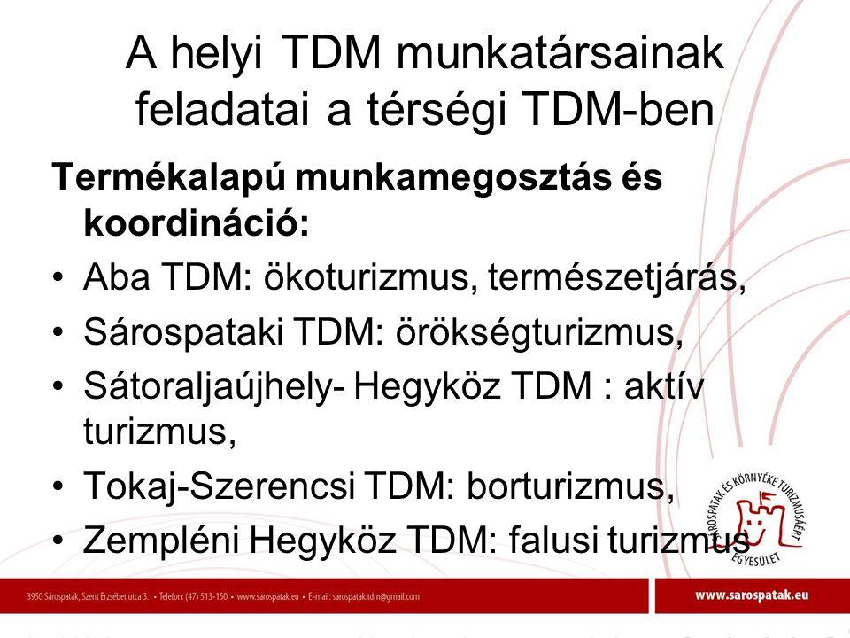 A helyi TDM munkatársainak feladatai a térségi TDM-ben