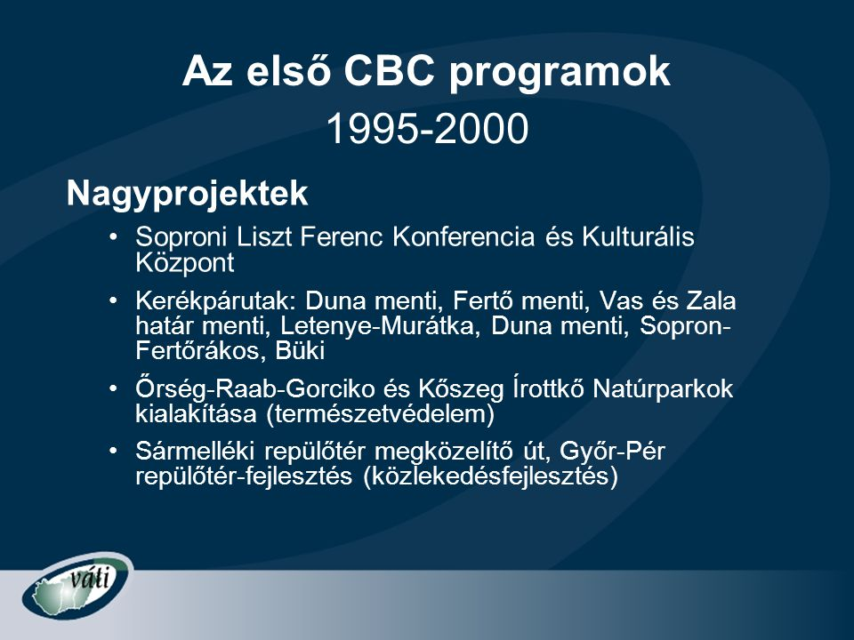 Az első CBC programok 1995-2000 Nagyprojektek