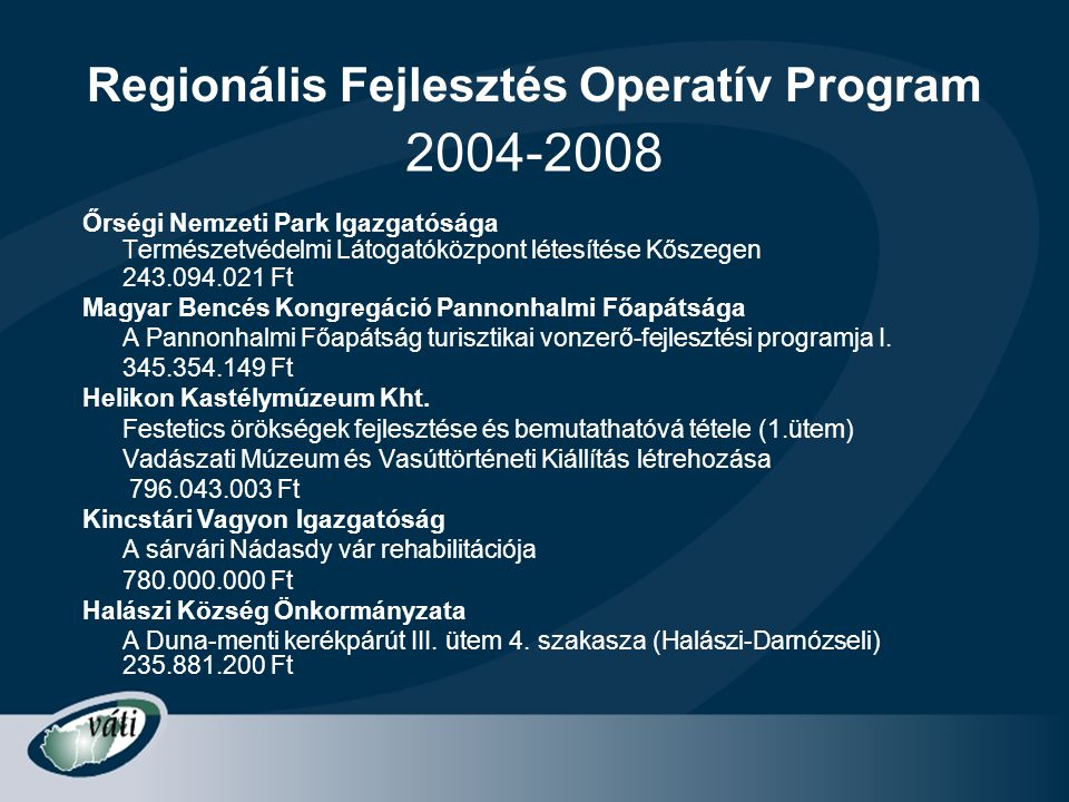 Regionális Fejlesztés Operatív Program