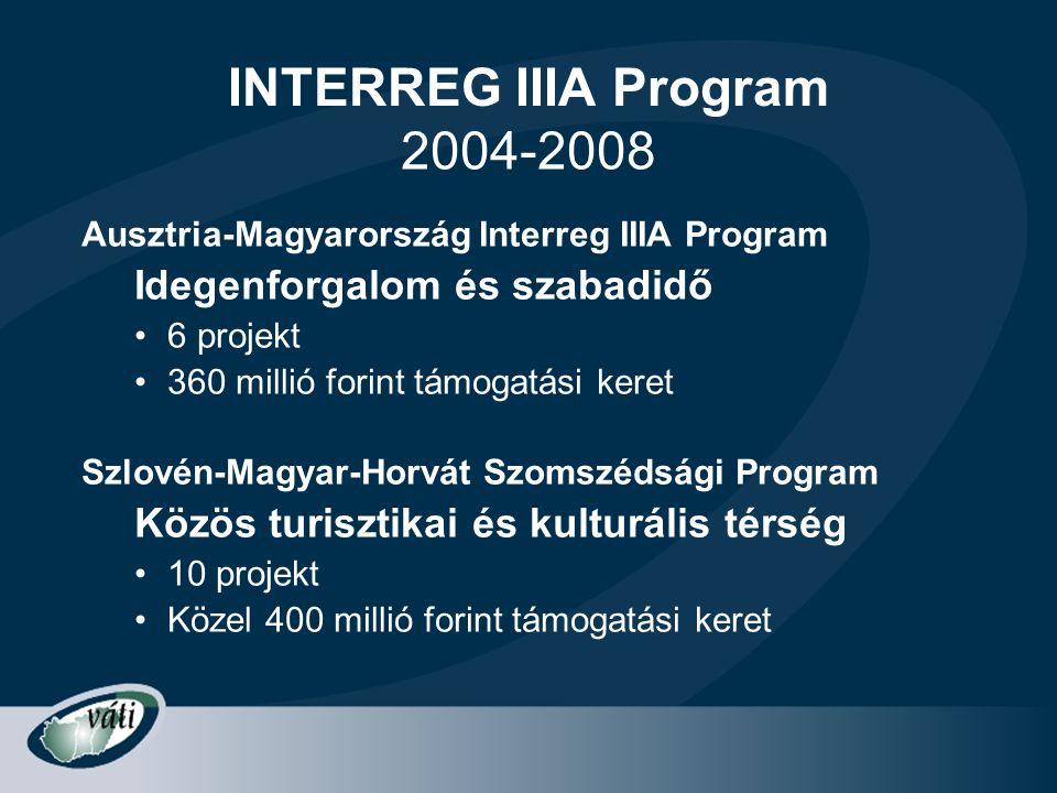 INTERREG IIIA Program 2004-2008 Idegenforgalom és szabadidő