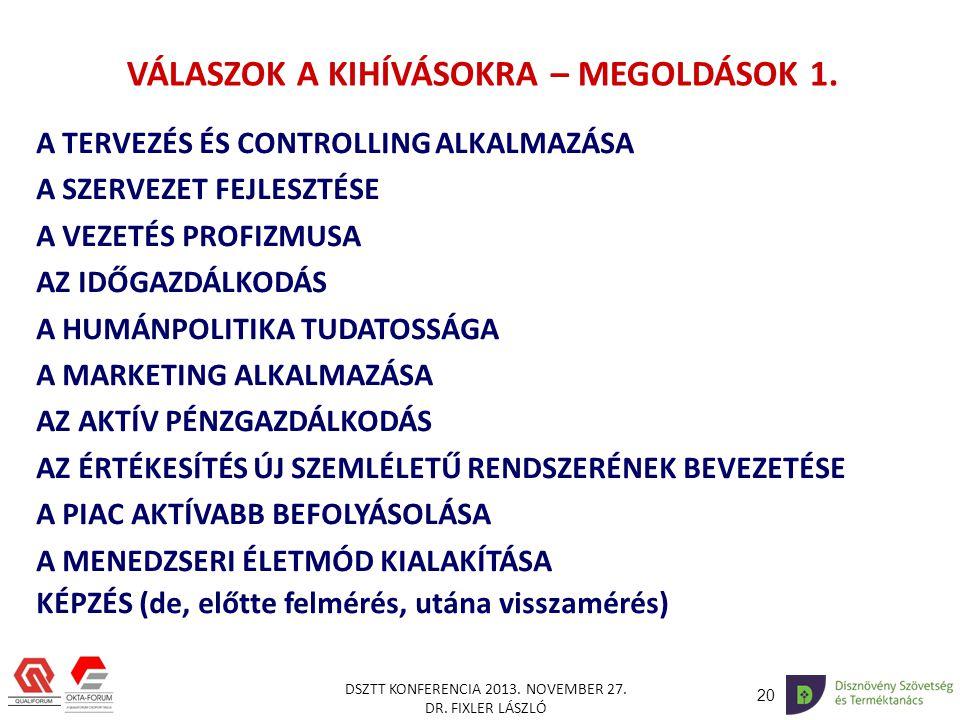 VÁLASZOK A KIHÍVÁSOKRA – MEGOLDÁSOK 1.