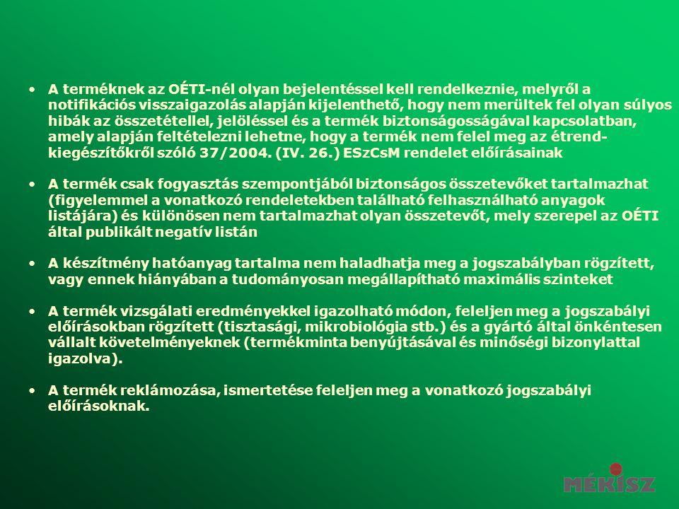 A terméknek az OÉTI-nél olyan bejelentéssel kell rendelkeznie, melyről a notifikációs visszaigazolás alapján kijelenthető, hogy nem merültek fel olyan súlyos hibák az összetétellel, jelöléssel és a termék biztonságosságával kapcsolatban, amely alapján feltételezni lehetne, hogy a termék nem felel meg az étrend-kiegészítőkről szóló 37/2004. (IV. 26.) ESzCsM rendelet előírásainak