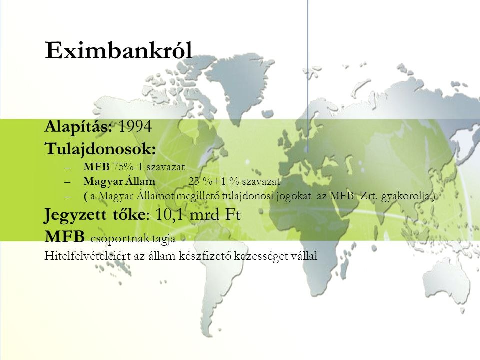 Eximbankról Alapítás: 1994 Tulajdonosok: Jegyzett tőke: 10,1 mrd Ft