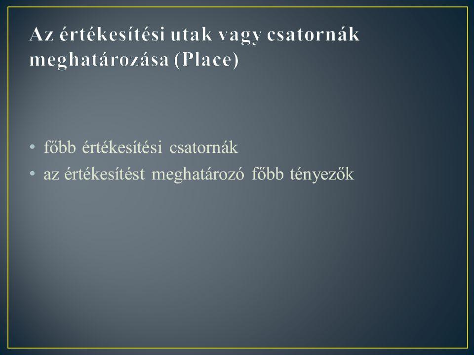 Az értékesítési utak vagy csatornák meghatározása (Place)