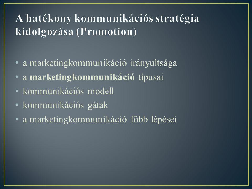 A hatékony kommunikációs stratégia kidolgozása (Promotion)