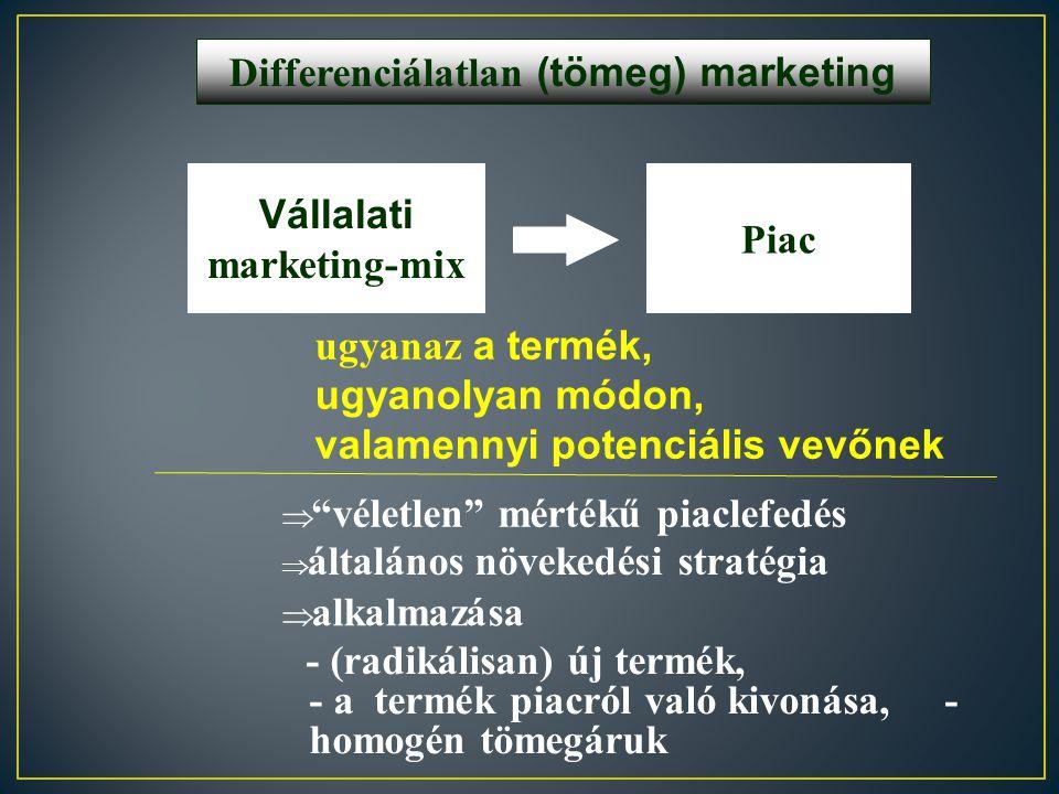 Differenciálatlan (tömeg) marketing Vállalati marketing-mix