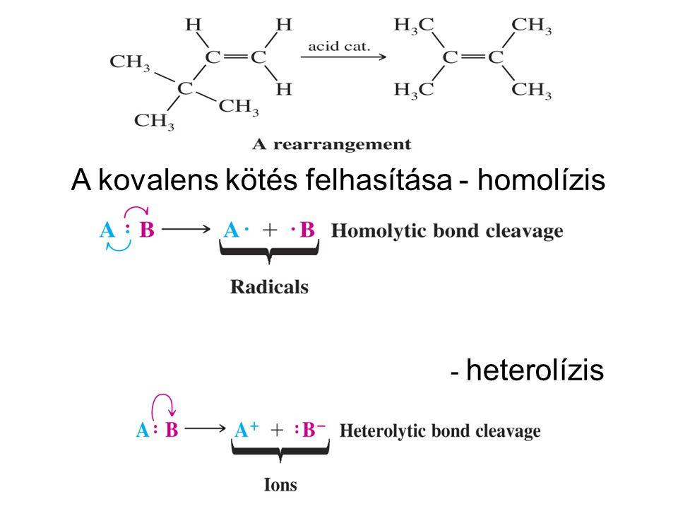 A kovalens kötés felhasítása - homolízis