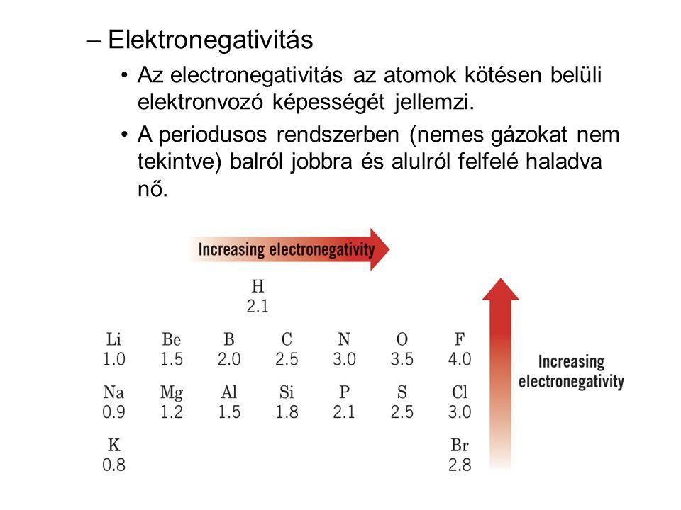 Elektronegativitás Az electronegativitás az atomok kötésen belüli elektronvozó képességét jellemzi.