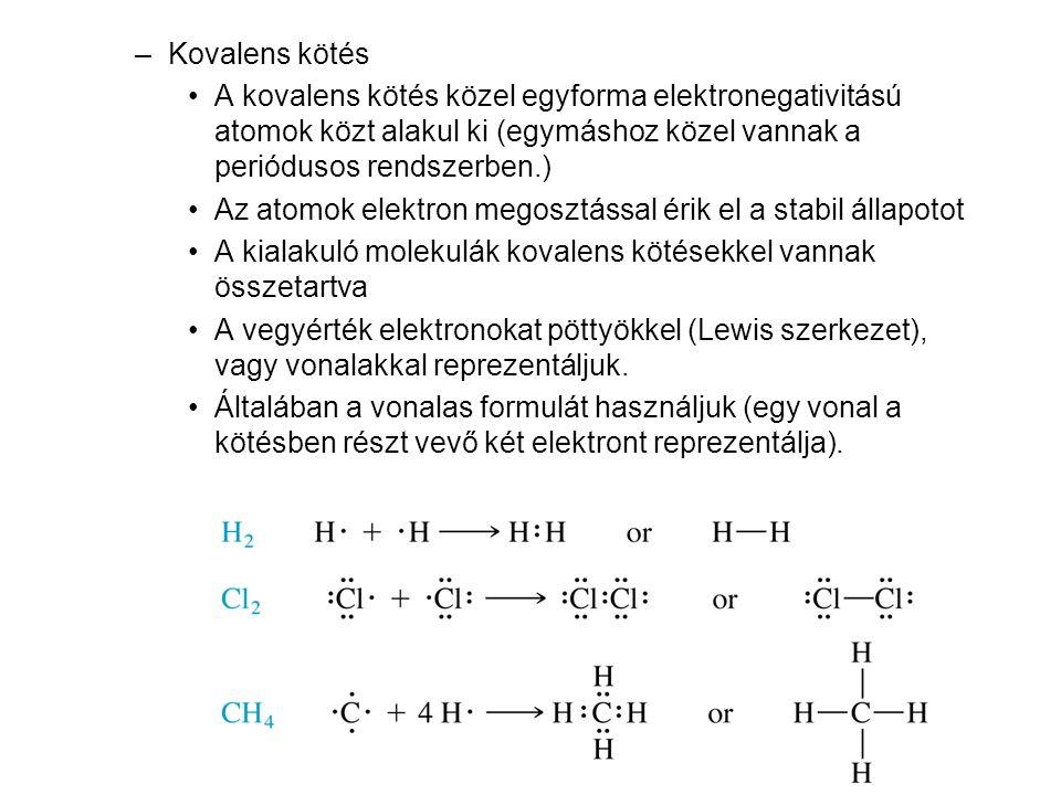 Kovalens kötés A kovalens kötés közel egyforma elektronegativitású atomok közt alakul ki (egymáshoz közel vannak a periódusos rendszerben.)