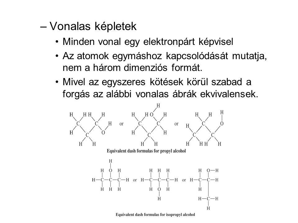 Vonalas képletek Minden vonal egy elektronpárt képvisel