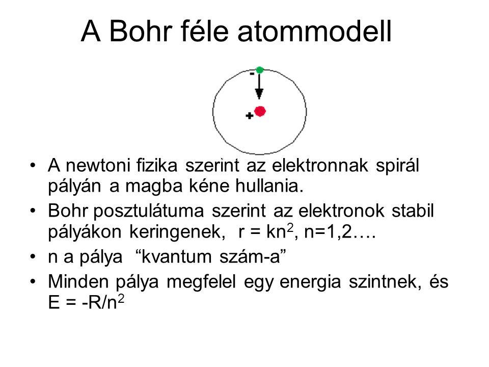 A Bohr féle atommodell proton. electron. A newtoni fizika szerint az elektronnak spirál pályán a magba kéne hullania.
