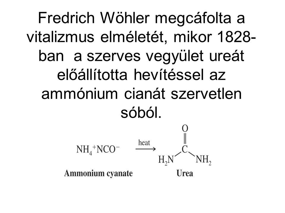 Fredrich Wöhler megcáfolta a vitalizmus elméletét, mikor 1828-ban a szerves vegyület ureát előállította hevítéssel az ammónium cianát szervetlen sóból.
