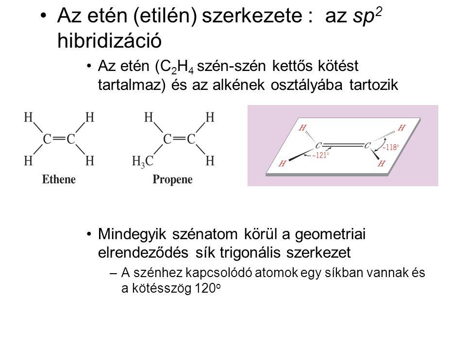 Az etén (etilén) szerkezete : az sp2 hibridizáció