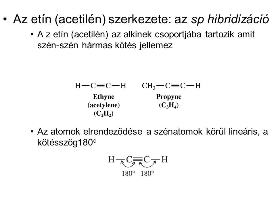 Az etín (acetilén) szerkezete: az sp hibridizáció