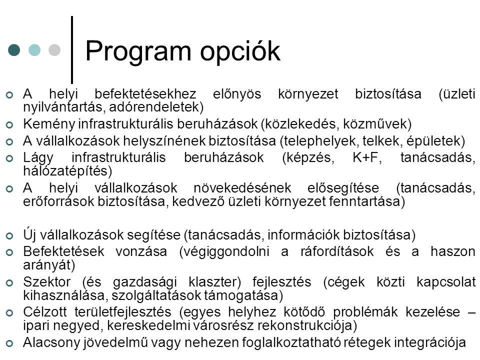 Program opciók A helyi befektetésekhez előnyös környezet biztosítása (üzleti nyilvántartás, adórendeletek)