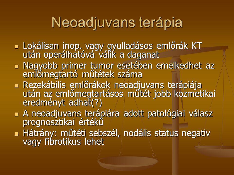 Neoadjuvans terápia Lokálisan inop. vagy gyulladásos emlőrák KT után operálhatóvá válik a daganat.