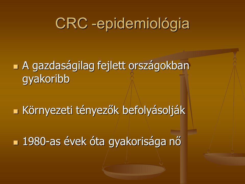 CRC -epidemiológia A gazdaságilag fejlett országokban gyakoribb