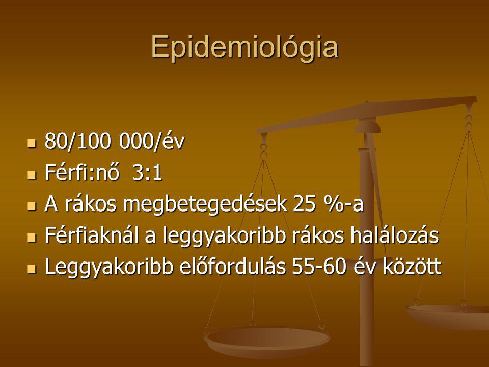 Epidemiológia 80/100 000/év Férfi:nő 3:1 A rákos megbetegedések 25 %-a