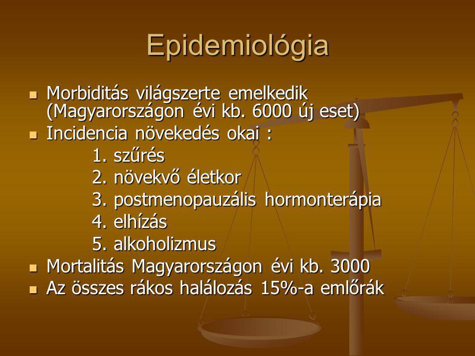 Epidemiológia Morbiditás világszerte emelkedik (Magyarországon évi kb. 6000 új eset) Incidencia növekedés okai :