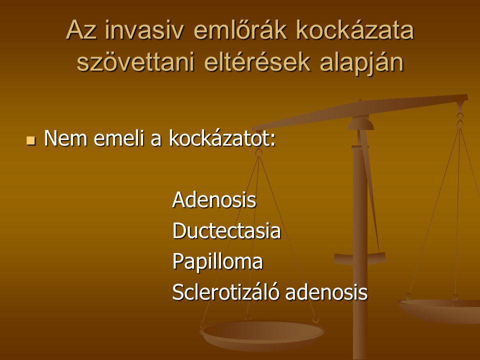 Az invasiv emlőrák kockázata szövettani eltérések alapján