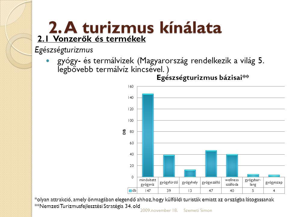 2. A turizmus kínálata 2.1 Vonzerők és termékek Egészségturizmus