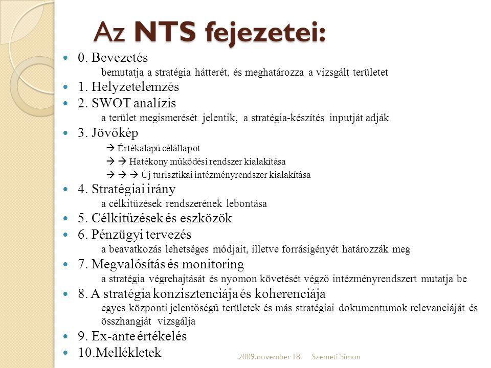 Az NTS fejezetei: 0. Bevezetés 1. Helyzetelemzés 2. SWOT analízis