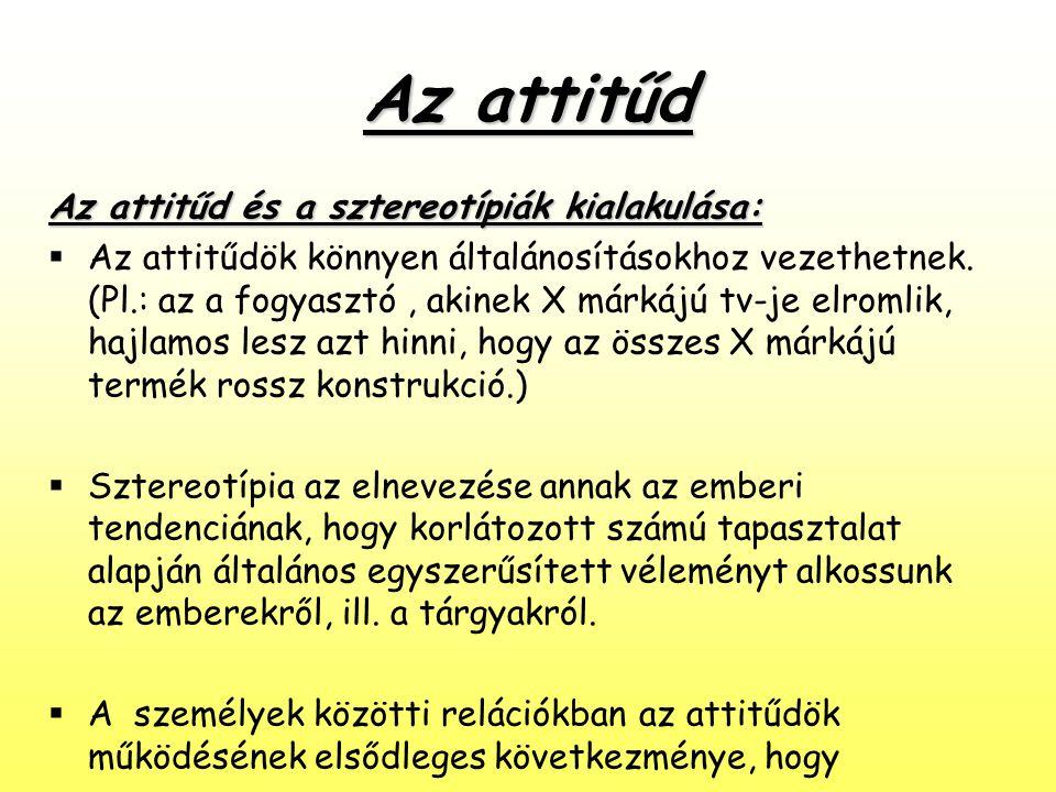 Az attitűd Az attitűd és a sztereotípiák kialakulása: