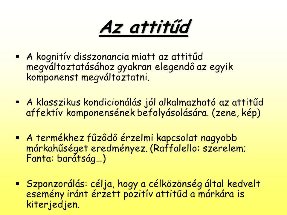 Az attitűd A kognitív disszonancia miatt az attitűd megváltoztatásához gyakran elegendő az egyik komponenst megváltoztatni.