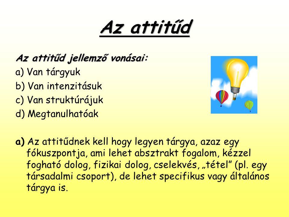 Az attitűd Az attitűd jellemző vonásai: a) Van tárgyuk