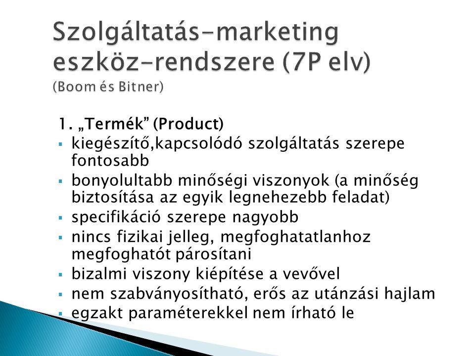 Szolgáltatás-marketing eszköz-rendszere (7P elv) (Boom és Bitner)