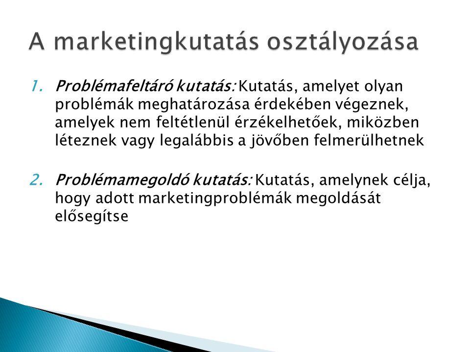 A marketingkutatás osztályozása