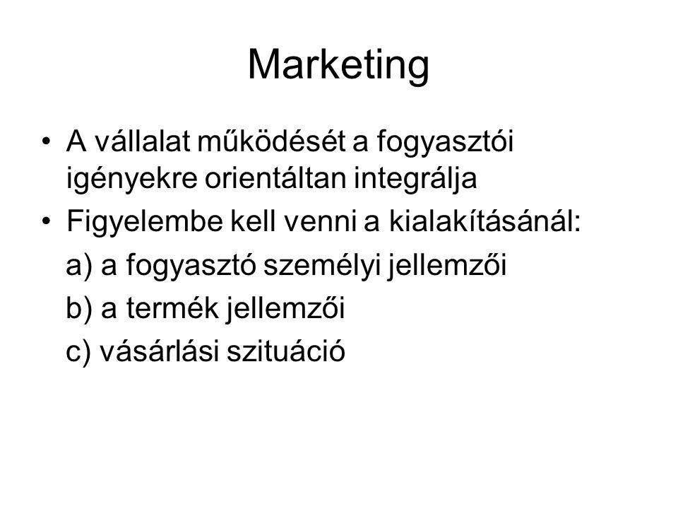 Marketing A vállalat működését a fogyasztói igényekre orientáltan integrálja. Figyelembe kell venni a kialakításánál: