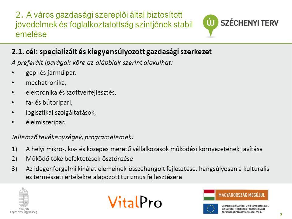 2.1. cél: specializált és kiegyensúlyozott gazdasági szerkezet
