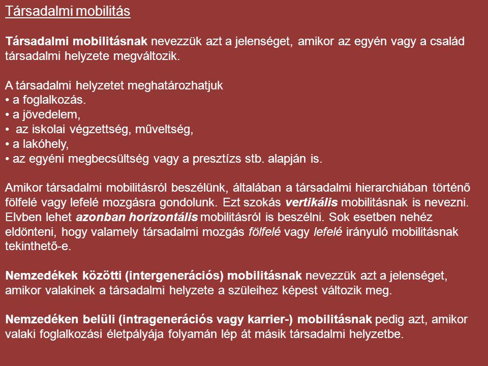 Társadalmi mobilitás Társadalmi mobilitásnak nevezzük azt a jelenséget, amikor az egyén vagy a család társadalmi helyzete megváltozik.
