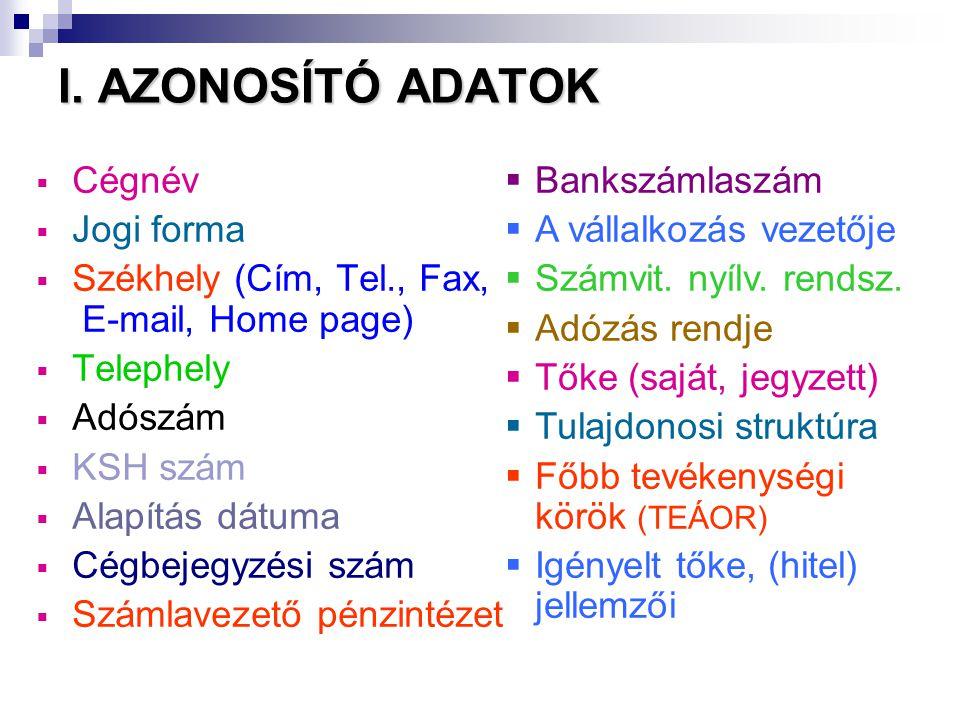 I. AZONOSÍTÓ ADATOK Cégnév Jogi forma