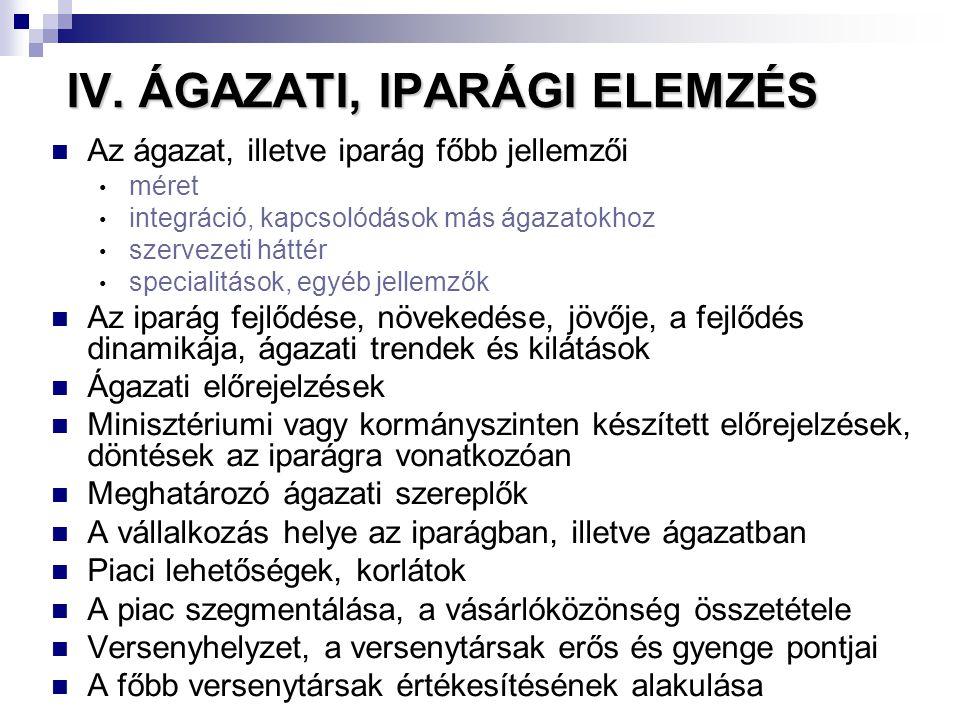 IV. ÁGAZATI, IPARÁGI ELEMZÉS