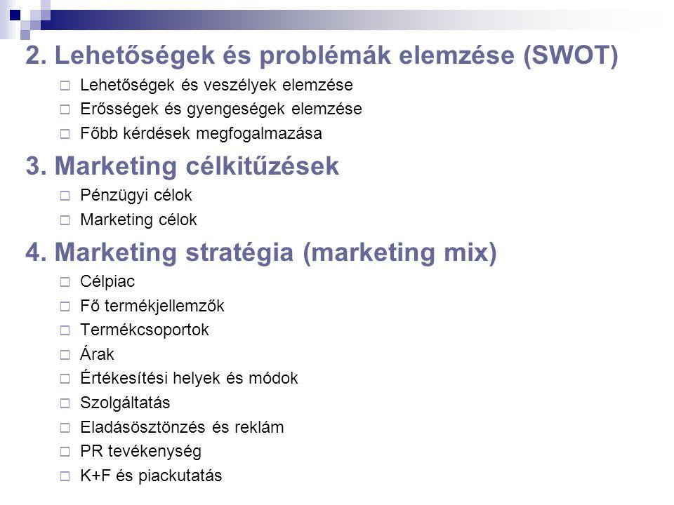 2. Lehetőségek és problémák elemzése (SWOT)