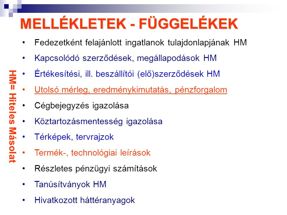 MELLÉKLETEK - FÜGGELÉKEK